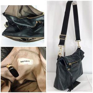 Margot Double Flap Cross Body Bag Black Purse